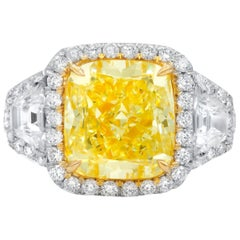 5.54 Carat Canary Yellow Diamond Ring