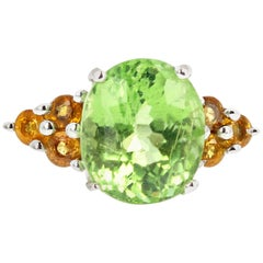 5.54 Carat Green Tourmaline and Golden Citrine Sterling Silver Ring