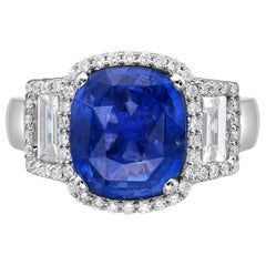 5.54 Carat Sri Lanka Sapphire GIA Certified Sri Lanka Ceylon Ring Cushion Cut