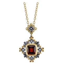 5.55 Carat Hessonite Garnet, Diamond Yellow White Gold Bezel Drop Pendant