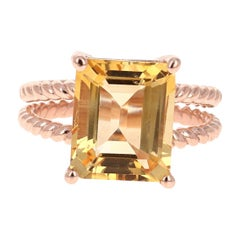 5.55 Carat Emerald Cut Citrine Quartz Rose Gold Ring