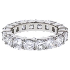 5.55 Carat Total Cushion Cut Diamond Eternity Band in Platinum
