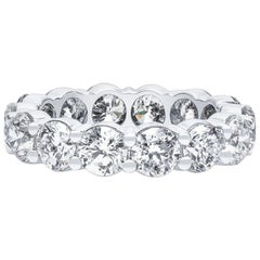 5.55 Carat Total Weight of Fine Round Cut Diamonds in Platinum Eternity Band