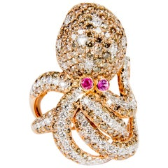 5.55ct Diamond and Pink Sapphire Octopus Shaped Cocktail Ring in 18K Rose Gold