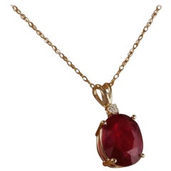 5.55 Carat Natural Red Ruby and Diamond 14 Karat Solid Yellow Gold Necklace