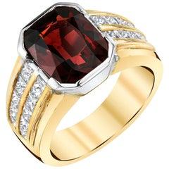 5.56 Carat Garnet, Double Row Channel Set Diamond, Yellow, White Gold Band Ring