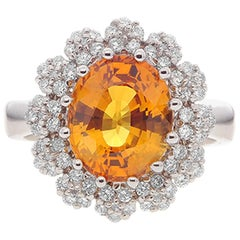 5.57 Carat Oval Cut Yellow Sapphire Gemstone 14 Karat White Gold Diamond Ring