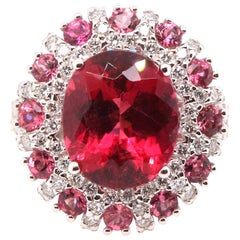 5.57 Carat Oval Rubellite, Pink Tourmaline and Diamond Ring