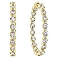 Grandeur 5.57 Carat Round Diamond Hoop Earrings in 14K Yellow Gold