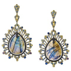 55.76 Carat Labradorite Colored Sapphire and Black Diamond Earring
