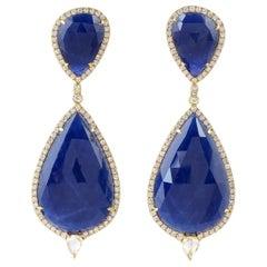 55.76 Carat Sapphire Diamond 18 Karat Gold Earrings