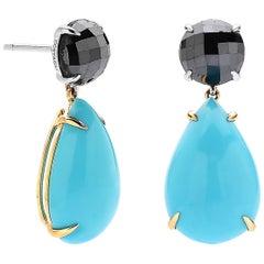 5.58 Carat Black Diamond and 15.08 Carat Sleeping Beauty Turquoise Earrings