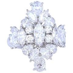 5.58 Ct Diamonds Marquise Round Pear-Cut White Gold 18 Karat Cocktail Ring, 2000