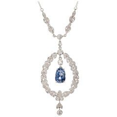 5.58 Carat Edwardian Natural Blue Sapphire Diamond Platinum Pendant Necklace