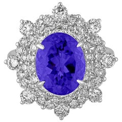 5.58 Carat Oval Tanzanite Diamond Cocktail Gold Ring