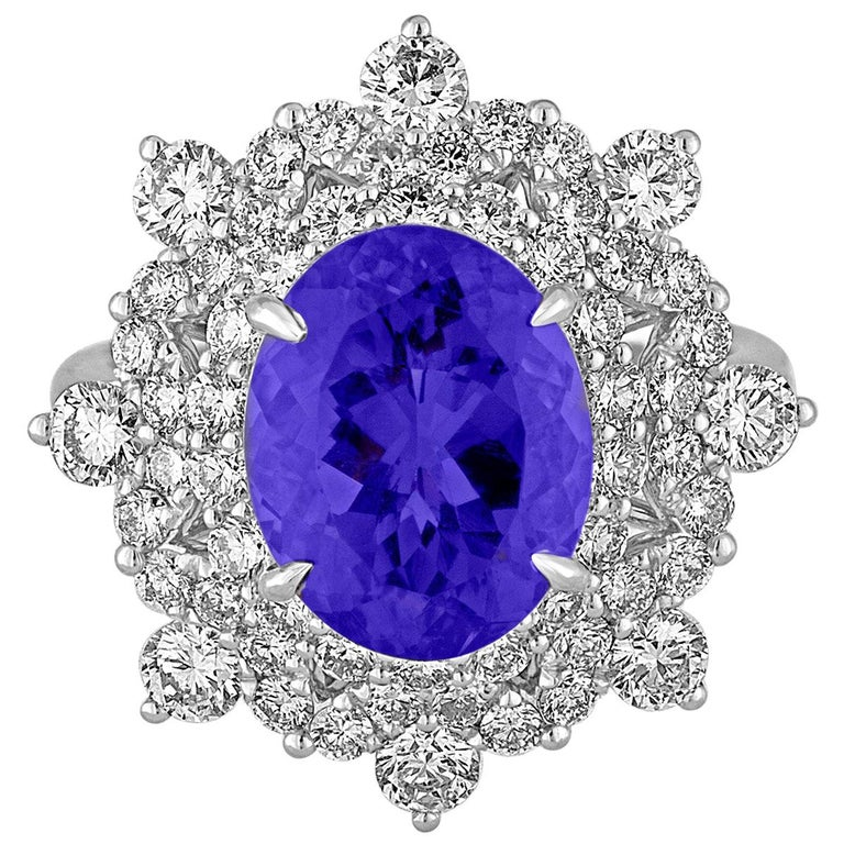 5.58 Carat Oval Tanzanite Diamond Cocktail Gold Ring For Sale