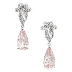 5.58 Carat Pink Morganite Diamond White Gold Dangle Earrings