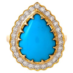 5.58 Carat Turquoise and Diamond Ring
