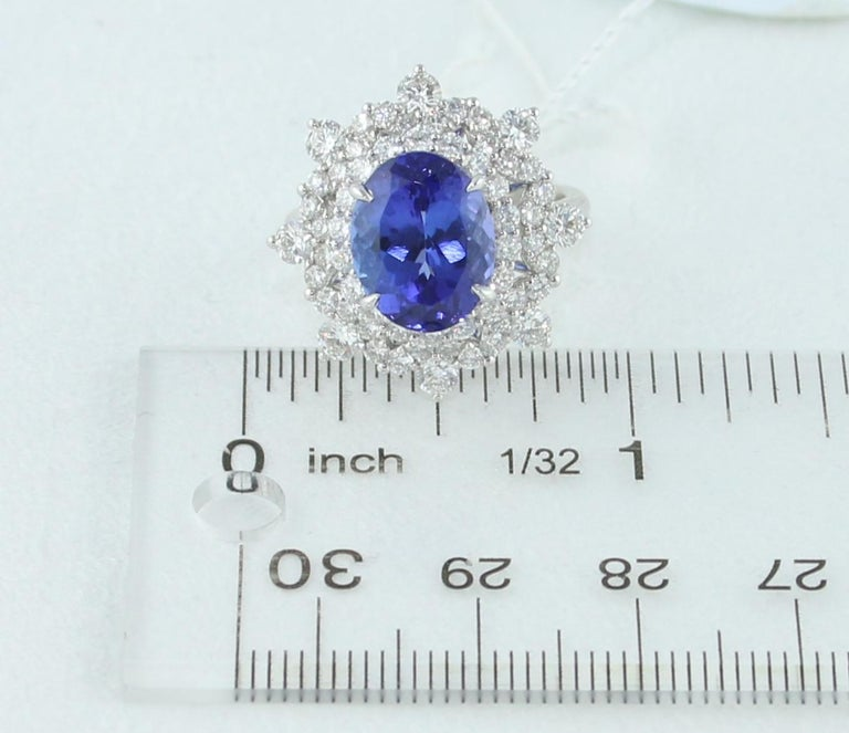 5.58 Carat Oval Tanzanite Diamond Cocktail Gold Ring For Sale 3
