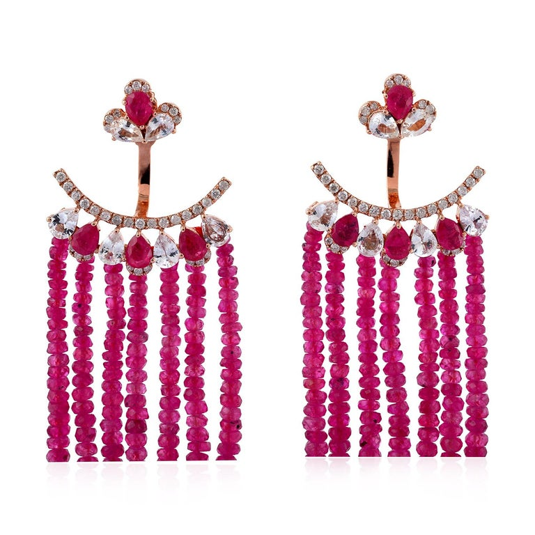 Contemporary 55.81 Carat Ruby Diamond Sapphire 18 Karat Gold Earrings For Sale