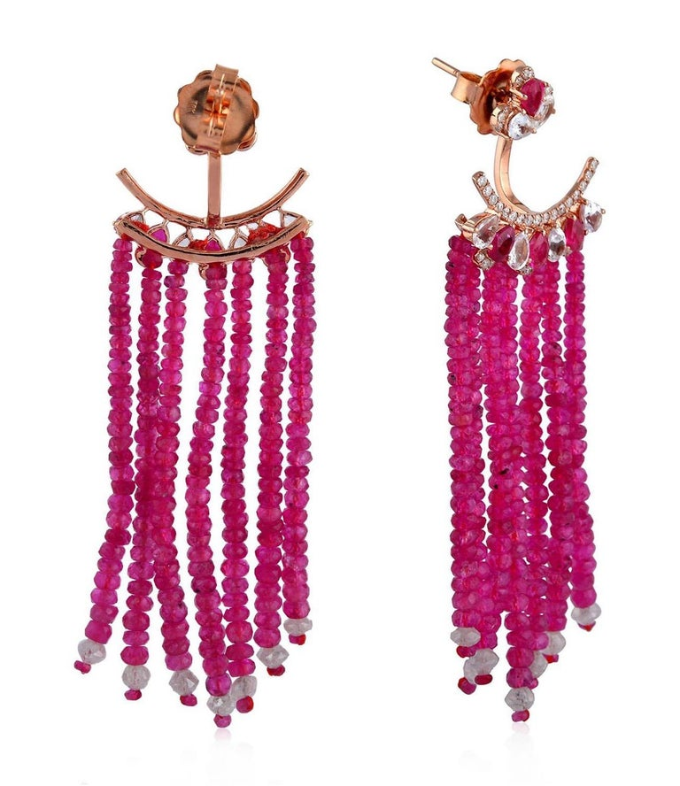 55.81 Carat Ruby Diamond Sapphire 18 Karat Gold Earrings In New Condition For Sale In Hoffman Estate, IL