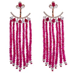 55.81 Carat Ruby Diamond Sapphire 18 Karat Gold Earrings
