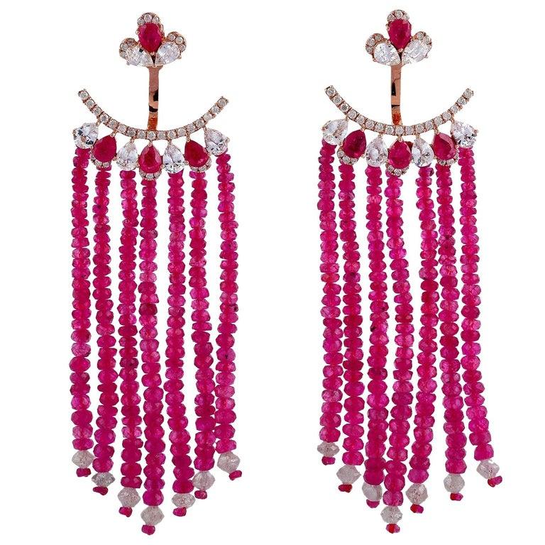 55.81 Carat Ruby Diamond Sapphire 18 Karat Gold Earrings For Sale