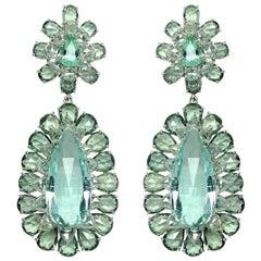 55.84 Carat Tourmaline Diamond 18 Karat Gold Earrings