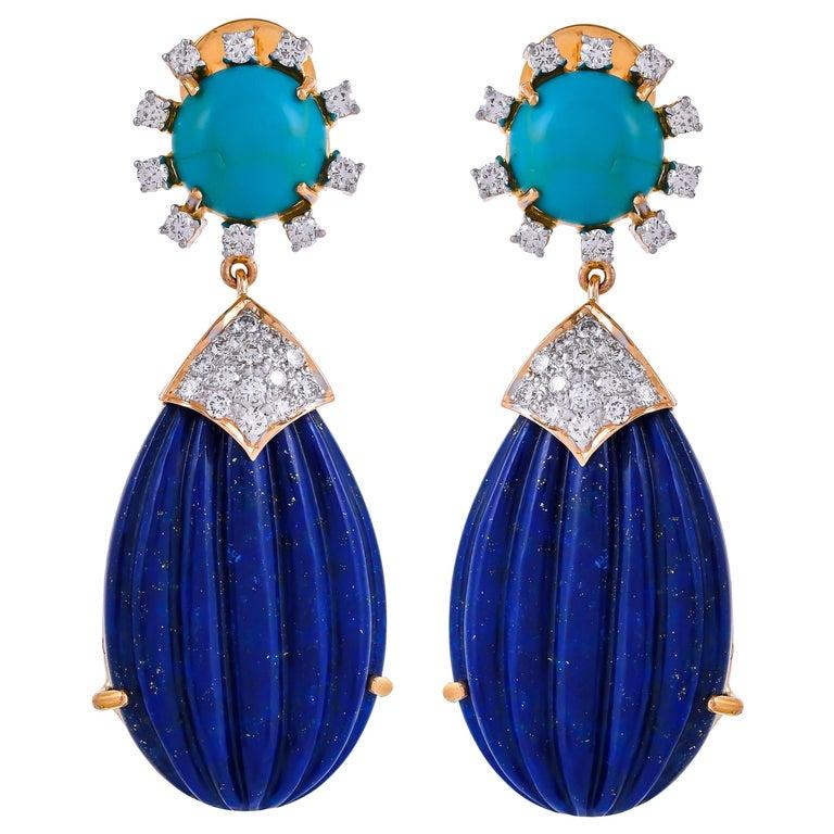 55.88 Carat Carved Lapis Lazuli Turquoise Diamond 18 Karat Gold Drop Earrings For Sale
