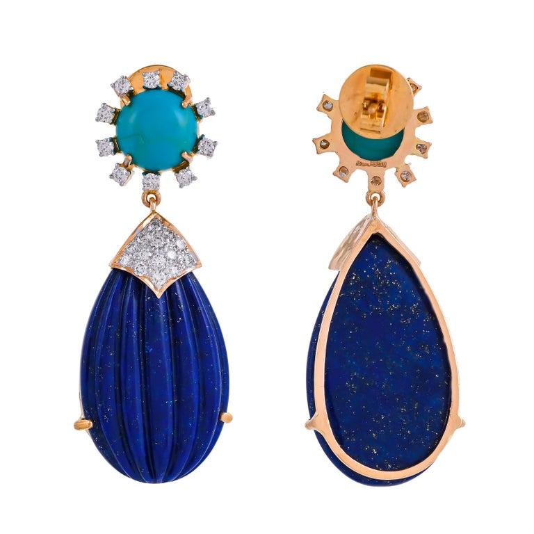 Modern 55.88 Carat Carved Lapis Lazuli Turquoise Diamond 18 Karat Gold Drop Earrings For Sale
