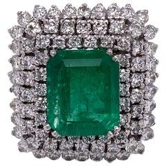 5.59 Carat Emerald Diamond Platinum Cocktail Vintage Ring AGL Certified