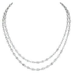55.91 Carat Briolette Diamond 18 Karat White Gold Necklace