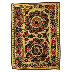 5.5x7.6 Ft Central Asian Suzani Textile, Embroidered Cotton & Silk Wall Hanging