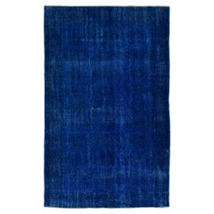 Vintage Rug Over-Dyed in Blue Color, Great for Contemporary Interiors