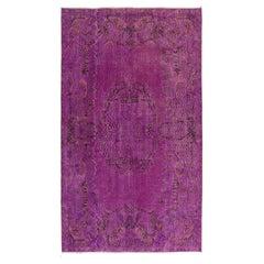 Vintage Medallion Design Handmade Turkish Rug Overdyed in Lilac Color