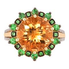 5.6 Carat Citrine, Tsavorite and Diamond Ring in 14 Karat Yellow Gold