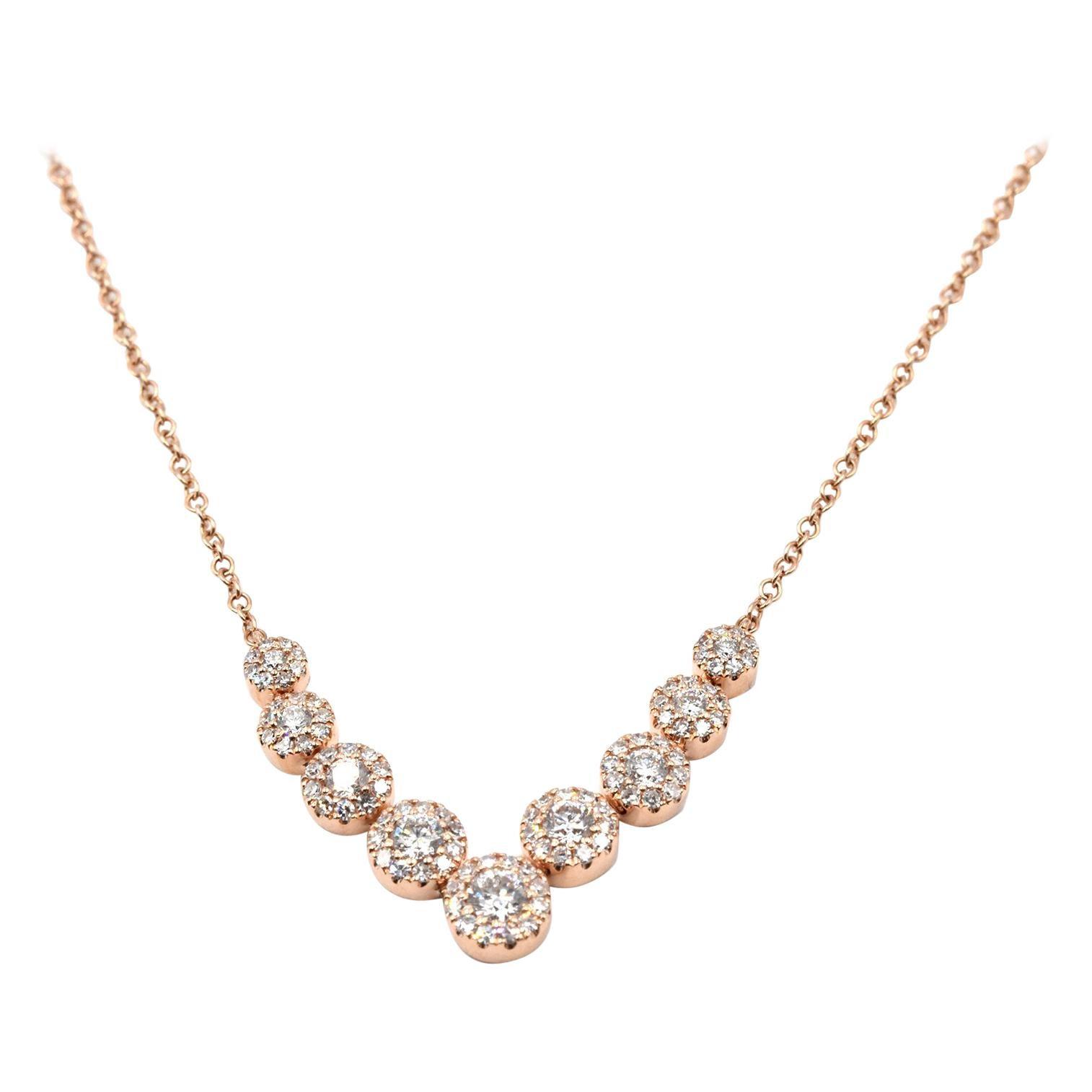 .56 Carat Diamond 14 Karat Rose Gold Diamond Cluster Necklace