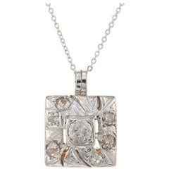 .56 Carat Diamond Two-Tone Gold Art Deco Pendant Necklace