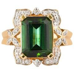 5.6 Carat Green Tourmaline and White Diamond Ring in 14 Karat Yellow Gold