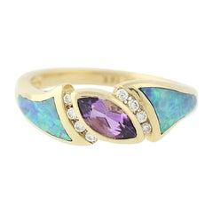 .56 Carat Marquise Cut Amethyst, Opal, and Diamond Kabana Ring, 14 Karat Gold