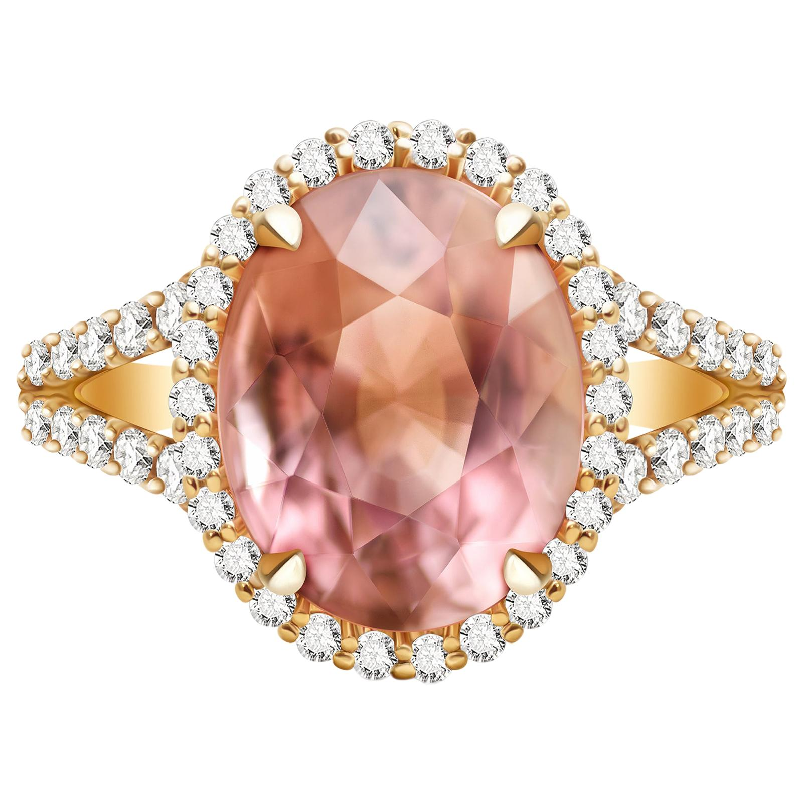 5.6 Carat Peach-Pink Tourmaline Diamonds 14 Karat Yellow Gold Ring