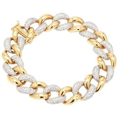 5.60 Carat Diamond Chain Link 18 Karat Yellow Gold Bracelet