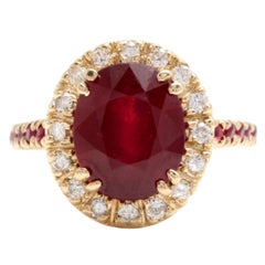 5.60 Carat Gorgeous Natural Red Ruby and Diamond 14 Karat Solid Yellow Gold Ring