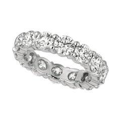 5.60 Carat Natural Diamond Eternity Ring Band 18k White Gold