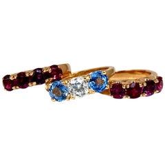 5.60 Carat Natural Ruby Sapphire Stackable Stacking Bands 14 Karat