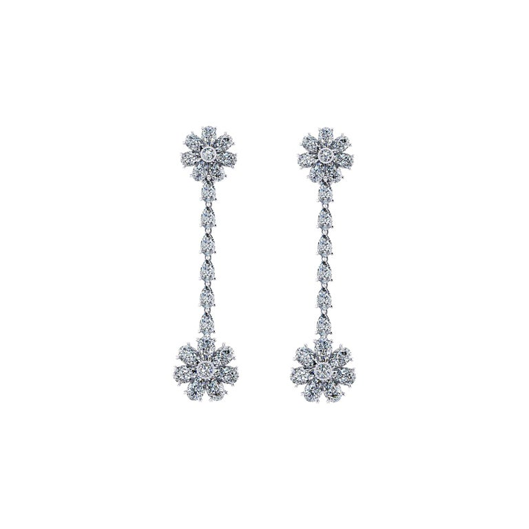 1b80eada15e44 5.60 Carat Pear Shape Diamond Flower Dangling Earrings in Platinum 950
