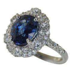 5.60 Carat Sapphire and 1.44 Carat Diamond Ladies Ring in 18 Karat White Gold