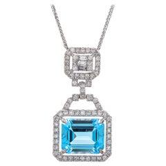 5.60 Carat Sky Blue Topaz Diamond 18 Karat White Gold Pendant