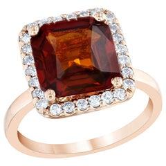 5.60 Carat Spessartine Garnet Diamond 14 Karat Rose Gold Bridal Ring