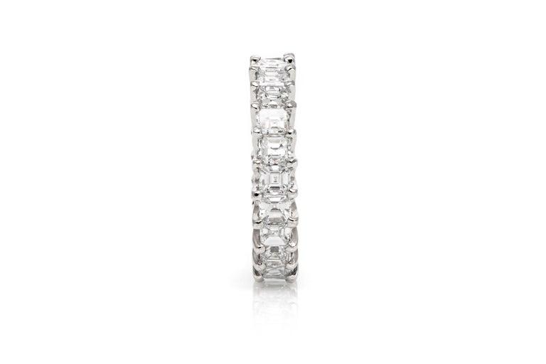 Women's or Men's 5.60 Carat Square Emerald Cut Diamond Eternity Band For Sale